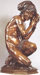 Carpeaux's Fisherboy - bronze with drape