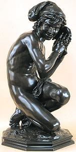 Carpeaux's Fisherboy - dark bronze with drape
