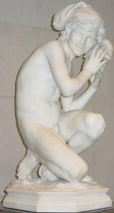Carpeaux's Fisherboy - marble nude in National Gallery of Art, Washington DC