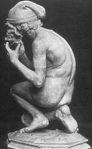 Carpeaux's Fisherboy - plaster nude - rare back view