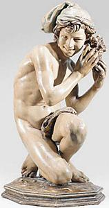 Carpeaux's Fisherboy - terracotta with drape
