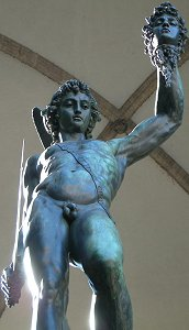 Cellini's Perseus: low front view, sidelit