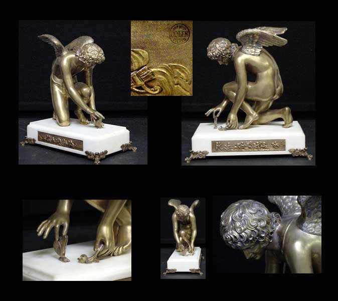 Chaudet's Cupid - montage of auctioned bronze statuette