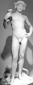 Bacchanal by Jean Antoine Carlès - marble nude front view