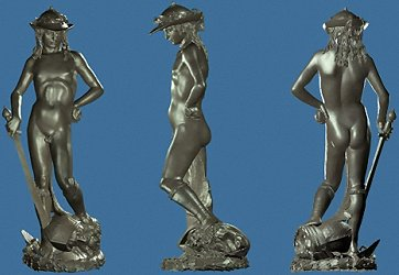 Donatello's David: laser scan, metallic, front, left and back