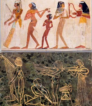 Comparison between Edward Onslow Ford - Applause - musicians on right of pedestal; and Ancient Egyptian tomb painting of musicians