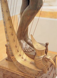 The Singer by Edward Onslow Ford - legs and base of harp, front right