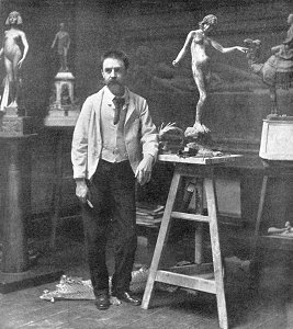 Edward Onslow Ford in his studio