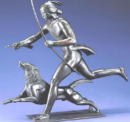 Indian Hunter with Dog by Paul Manship (left side)