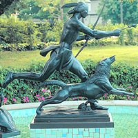 Indian Hunter with Dog by Paul Manship in park (left side)