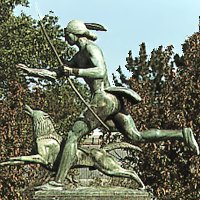Indian Hunter with Dog by Paul Manship in park (right side)
