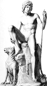 Shepherd Boy with his Dog by Bertel Thorvaldsen - sketch by Ignazio Podio with fig leaf